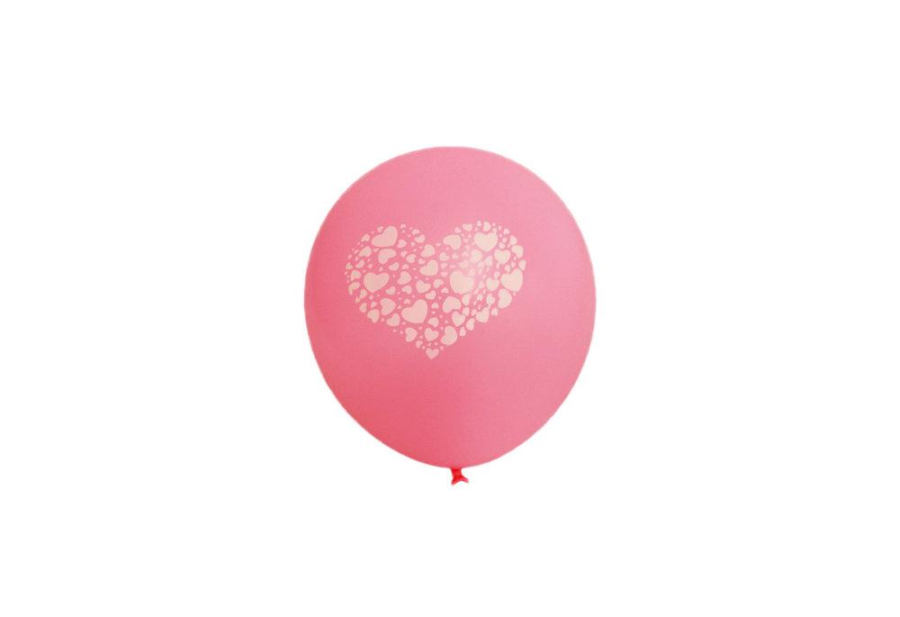 100 stuks - Roze ballon met witte hartjes in groot hart in groot hart 30 cm hoge kwaliteit