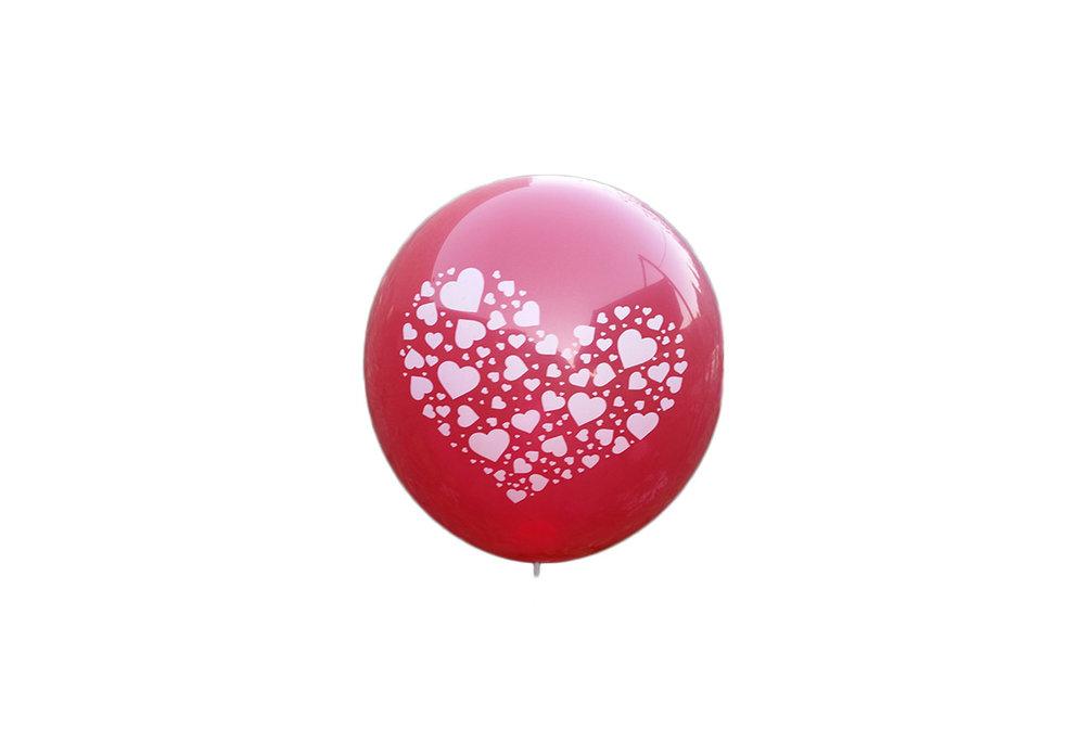 100 stuks - Rode ballon met witte hartjes in groot hart 30 cm hoge kwaliteit