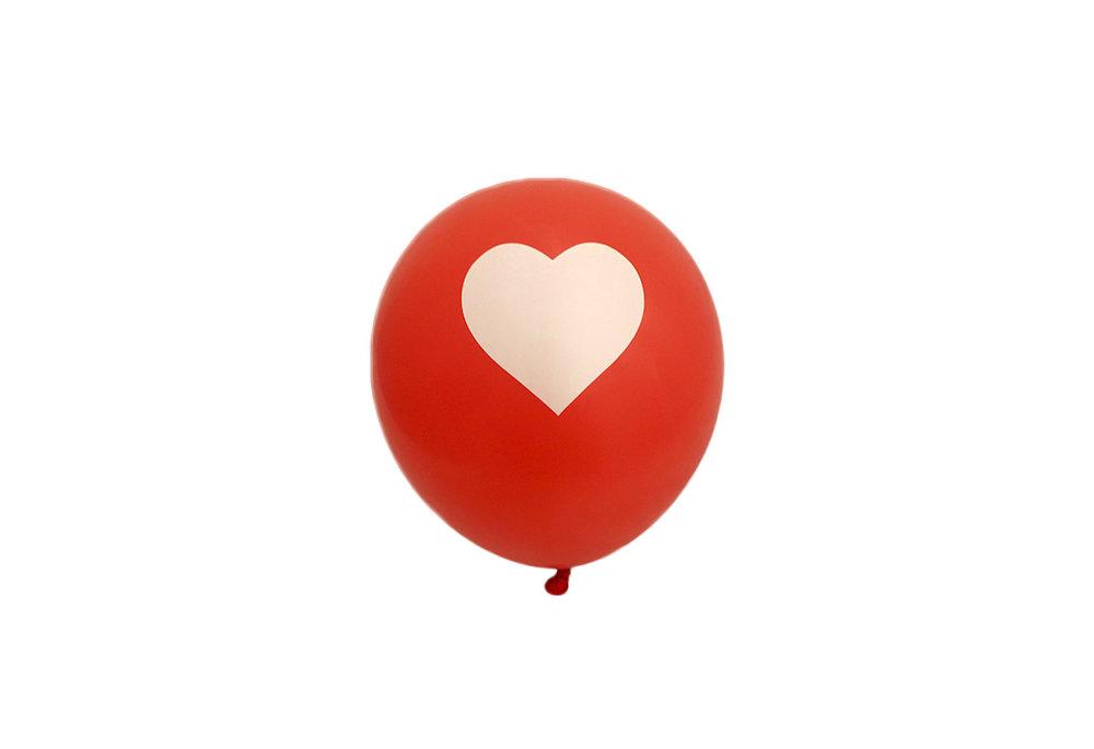 10 stuks - Rode ballon met wit hart 30 cm hoge kwaliteit