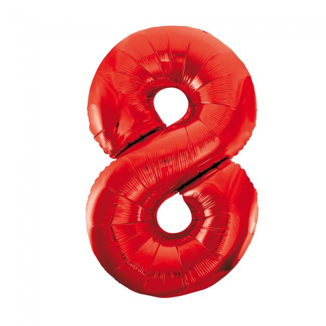 Cijferballon rood 86 cm nummer 8 professionele kwaliteit