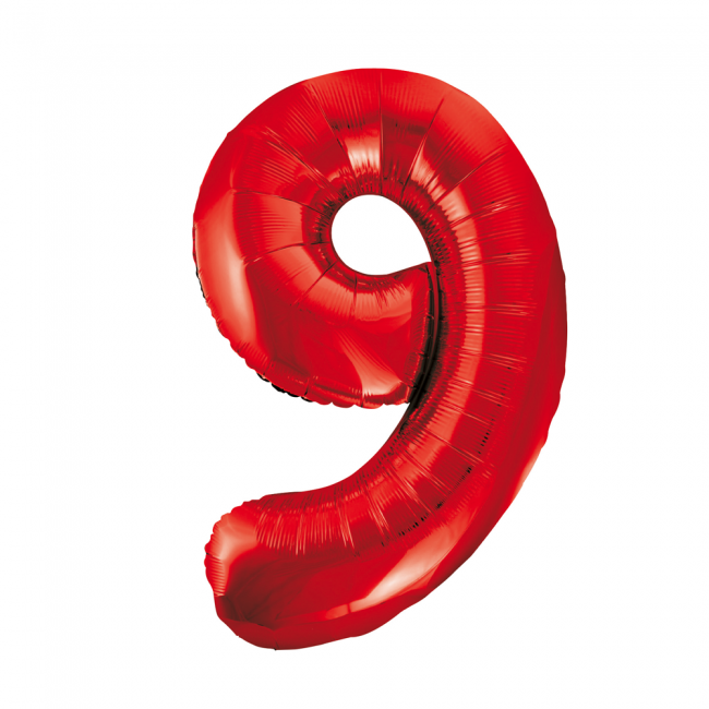 Cijferballon rood 86 cm nummer 9 professionele kwaliteit