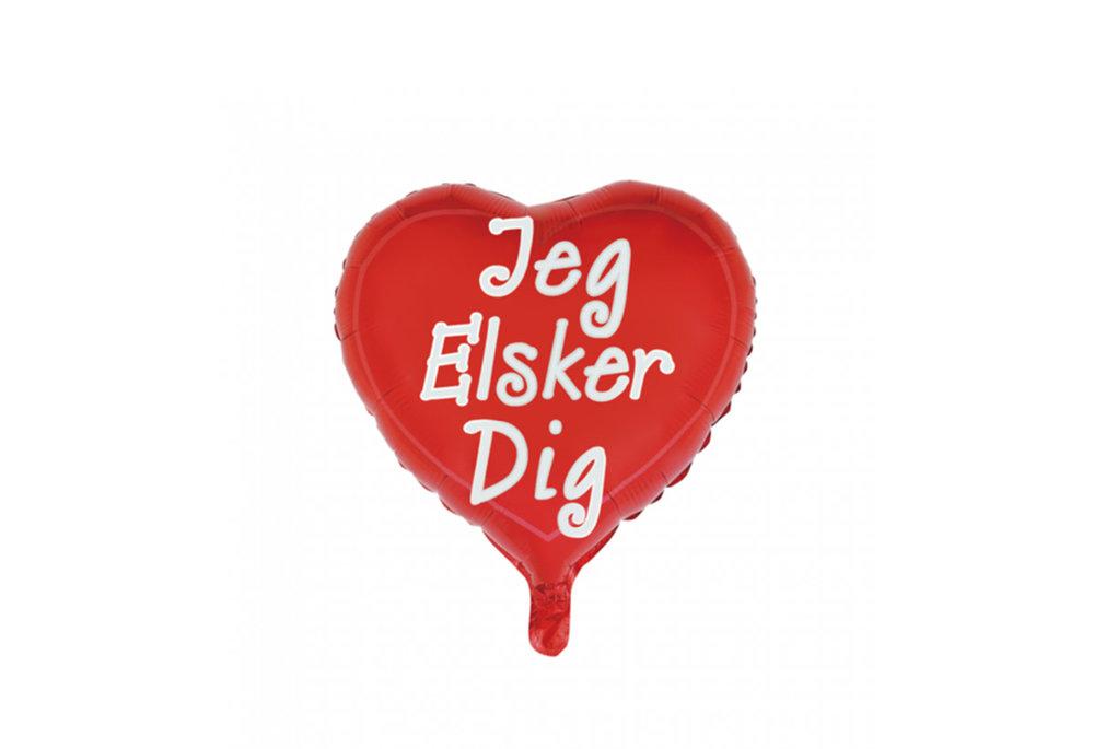 Folie ballon hart vorm 46 cm groot met tekst Jeg elsker dig btekent ik hou van jou