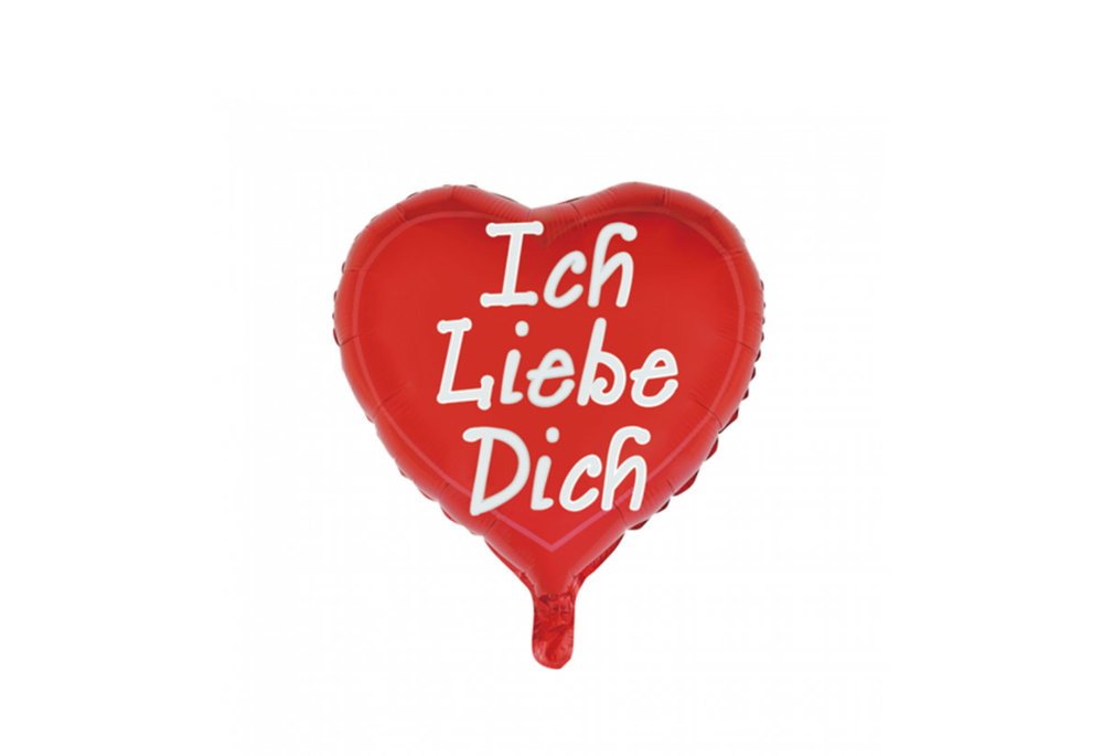 Folie ballon hart vorm 46 cm groot met tekst Ich liebe dich