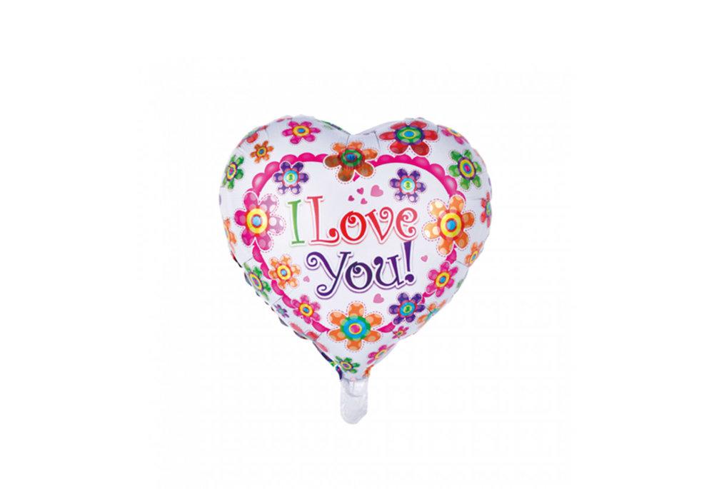 Folie ballon hart vorm 46 cm groot met tekst I love you met bloemen