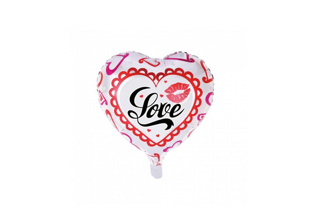 Folie ballon hart vorm 46 cm groot met tekst Love