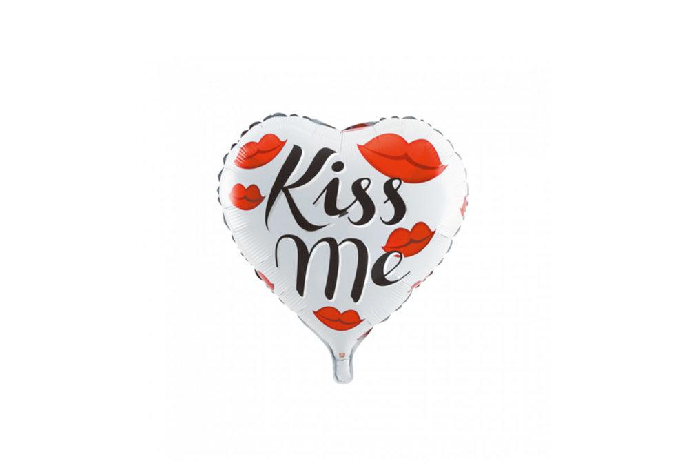 Folie ballon hart vorm 46 cm groot met tekst Kiss Me