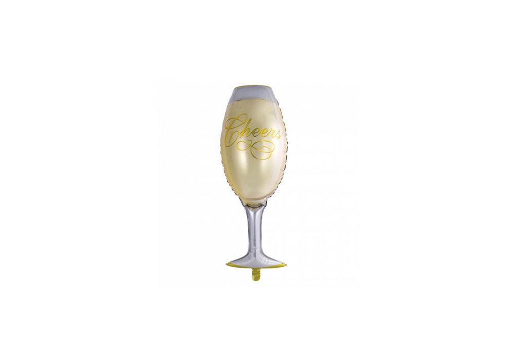 Folie ballon champagneglas en tekst Cheers 90*40 cm