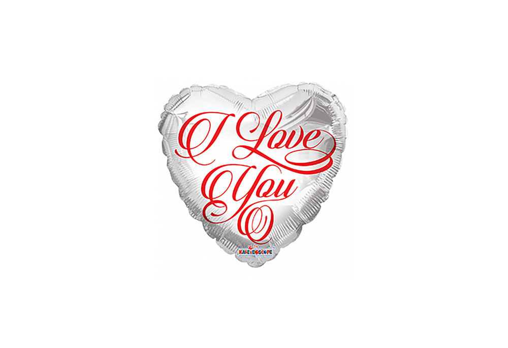 Grote ballon doorsnee 46 cm wit hart I love you