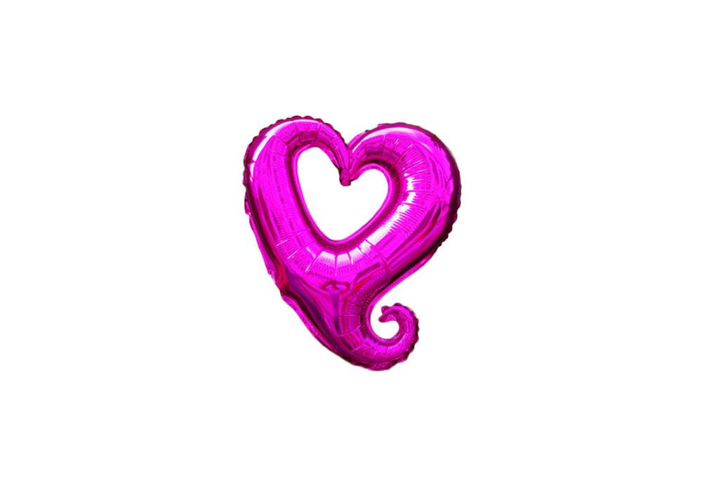 45 cm paarse open hartvormige folie ballon van hoge kwaliteit