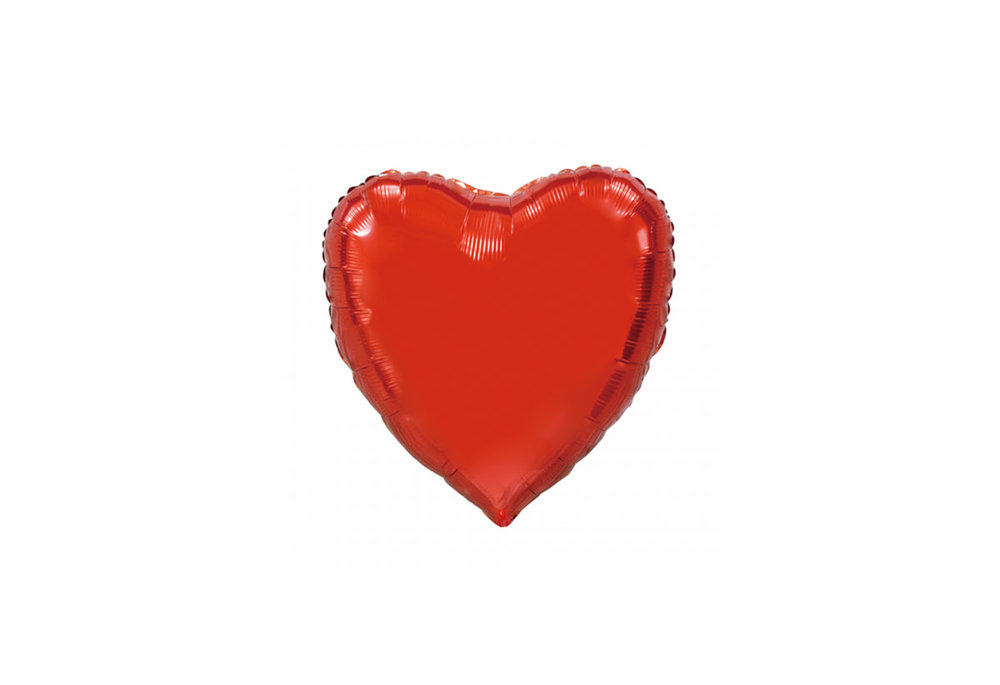 Folie ballon hart vorm rood 92 cm groot