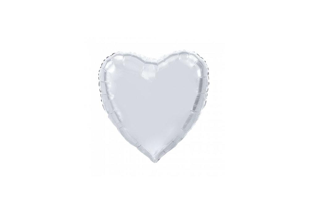 Folie ballon hart vorm zilver 92 cm groot