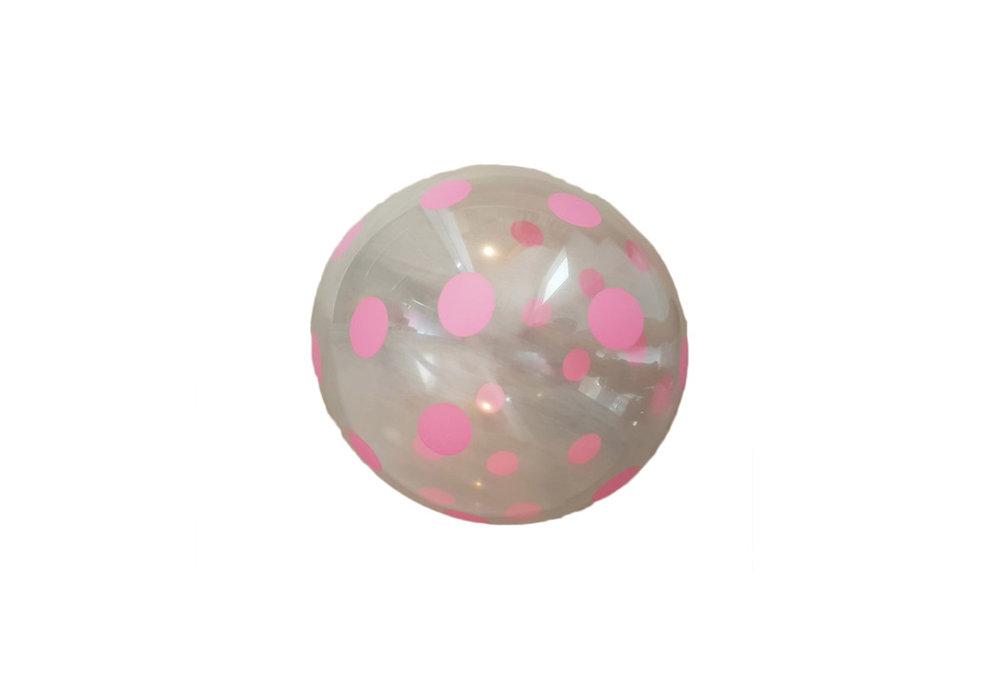 transparante ballon met licht roze stippen  30 cm hoge kwaliteit