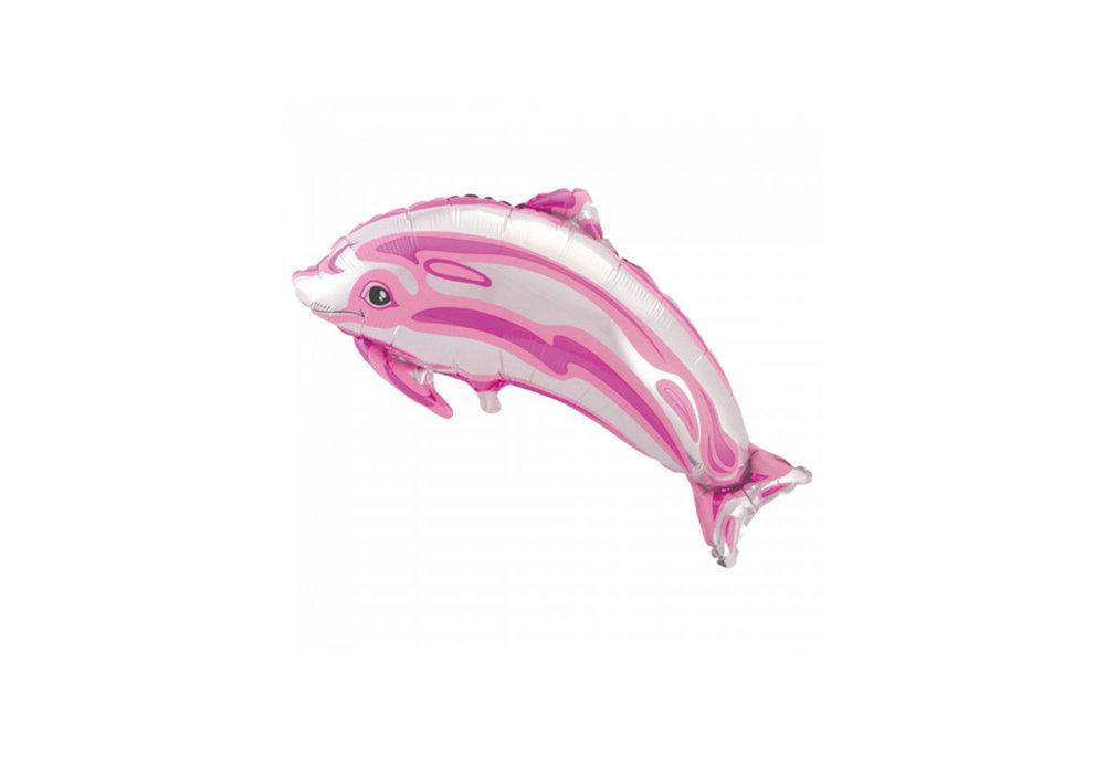 Folie ballon als dolfijn 80 cm groot kleur roze