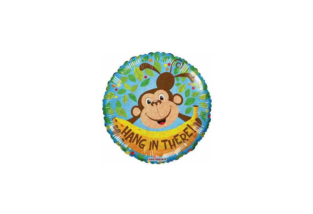 Folie ballon hang in there 46 cm groot met een aap