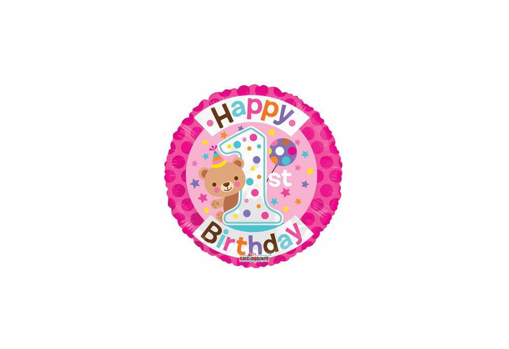 Folie ballon Happy 1st birthday met de kleur roze met een beertje 46 cm doorsnee