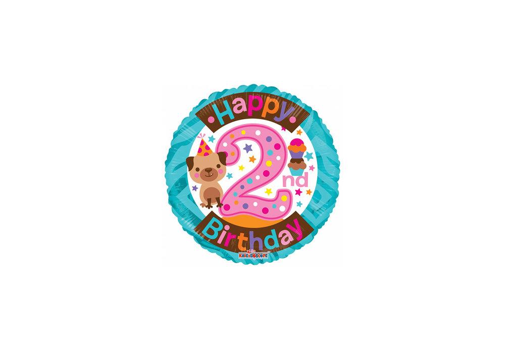 Folie ballon Happy  birthday 2 jaar rond  46 cm doorsnee