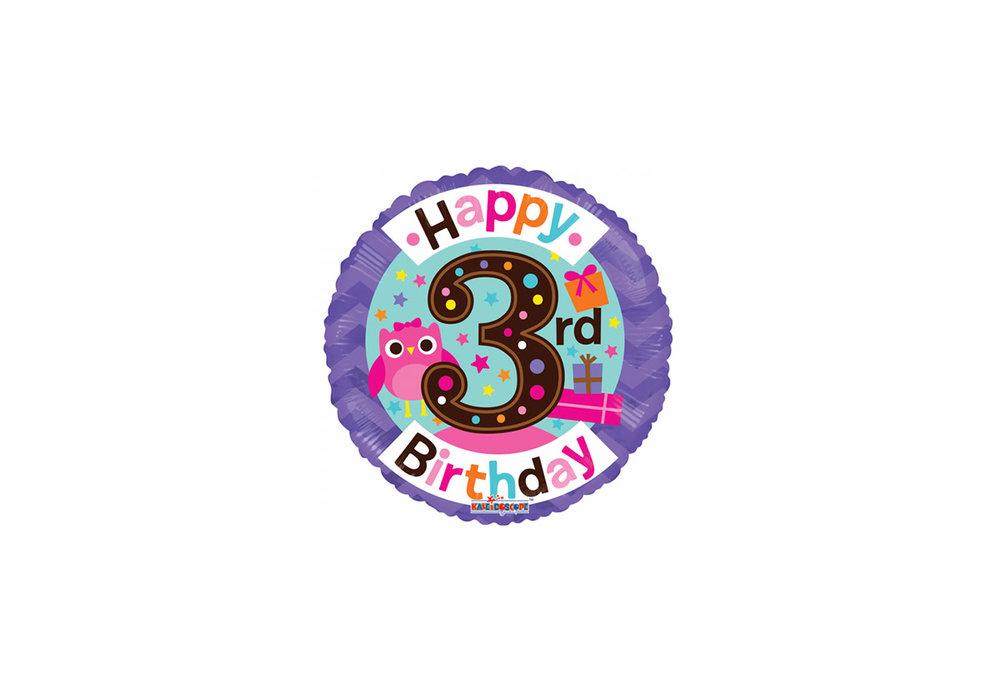 Folie ballon happy Birthday 3 jaar rond  met een uil 46 cm doorsnee