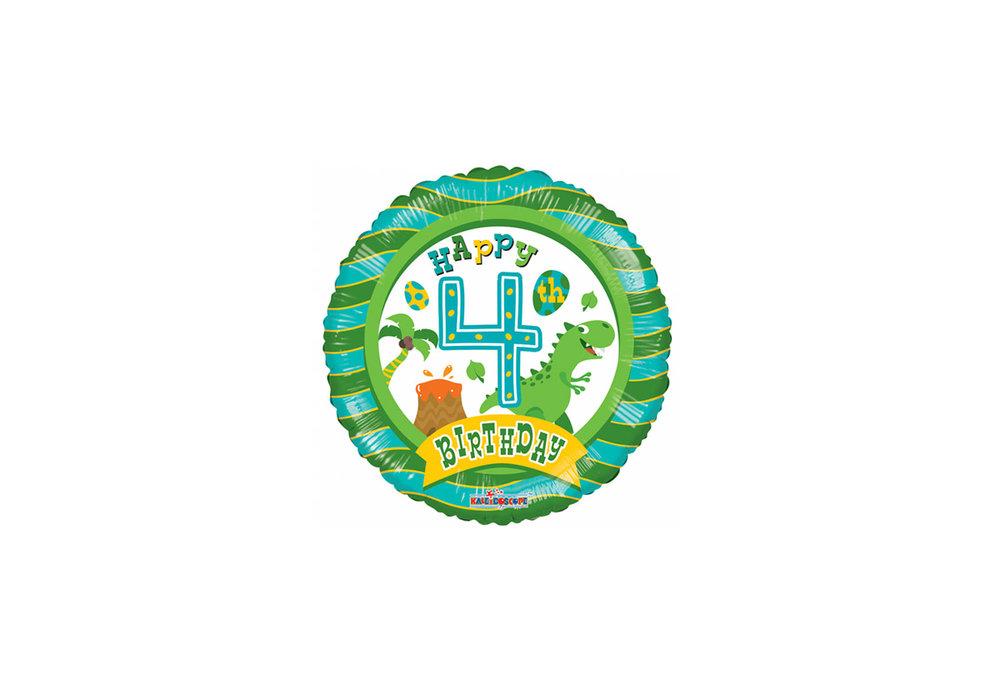 Folie ballon happy Birthday 4 jaar rond  met een dino 46 cm doorsnee