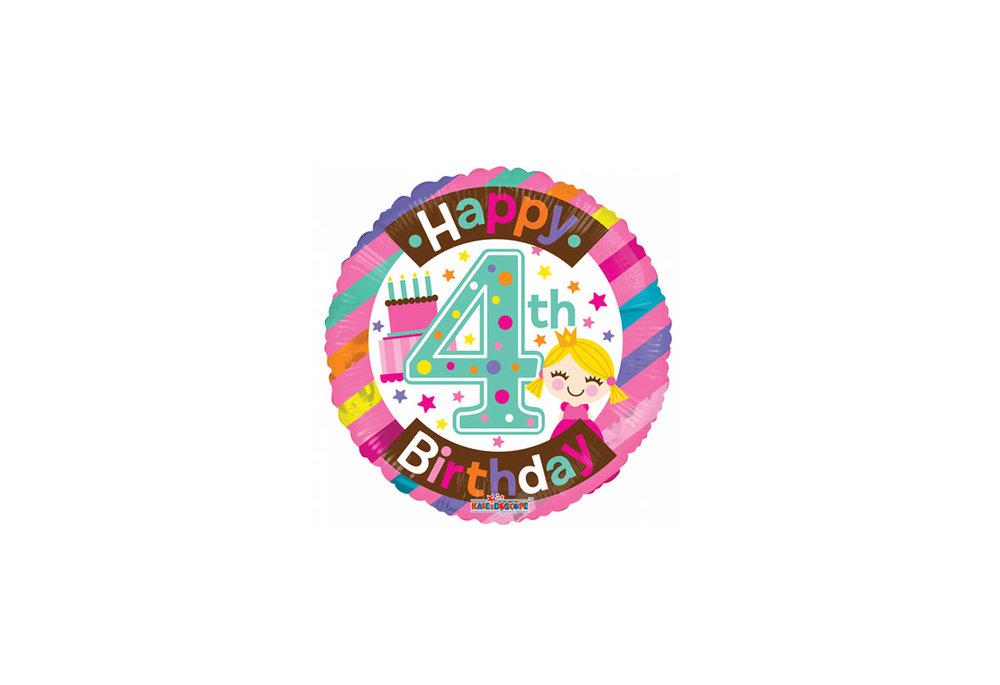 Folie ballon happy Birthday 4 jaar rond  met een taart 46 cm doorsnee