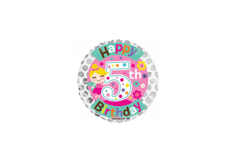 Folie ballon happy Birthday 5 jaar rond  met een elfje 46 cm doorsnee