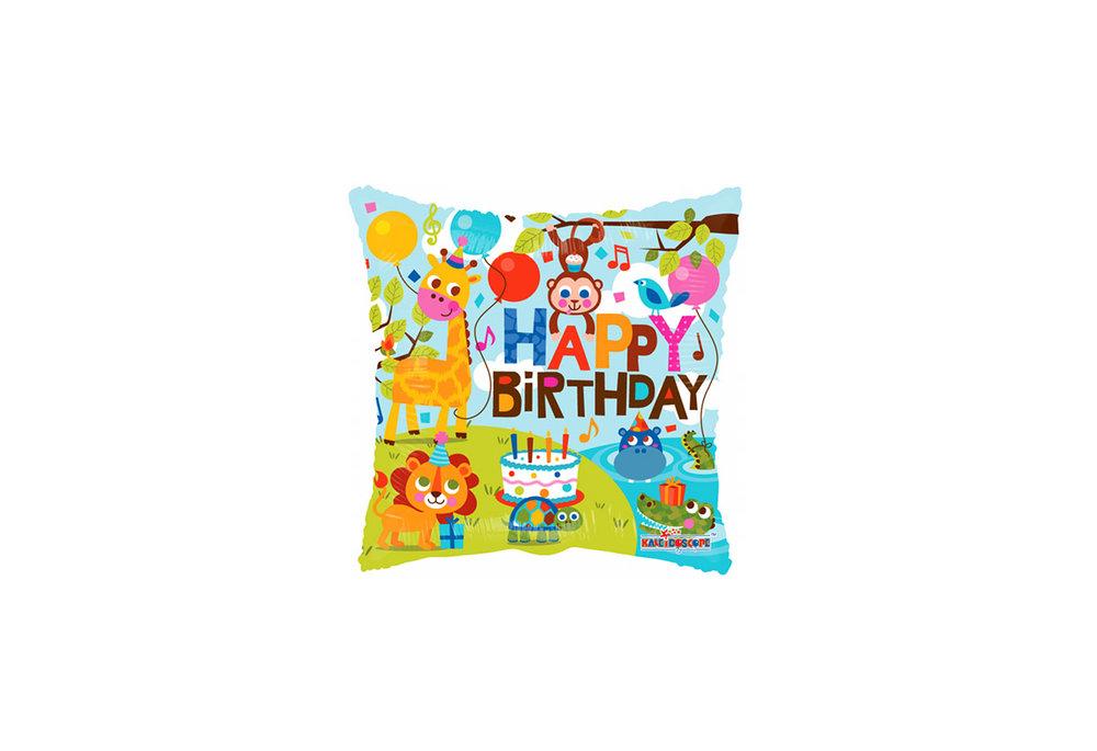 Folie ballon happy birthday met dieren rond 46 cm groot