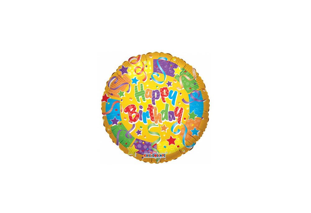 Folie ballon happy birthday rond kleur geel 46 cm groot