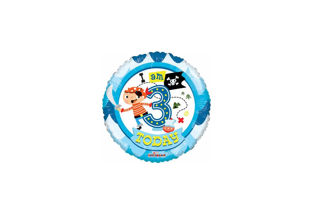 Folie ballon I am 3 today jaar rond  met een piraat 46 cm doorsnee