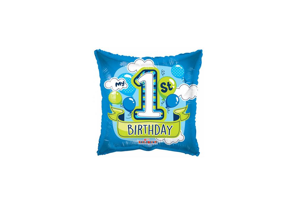 Folie ballon my 1st birthday met de kleur blauw / groen 46 cm doorsnee