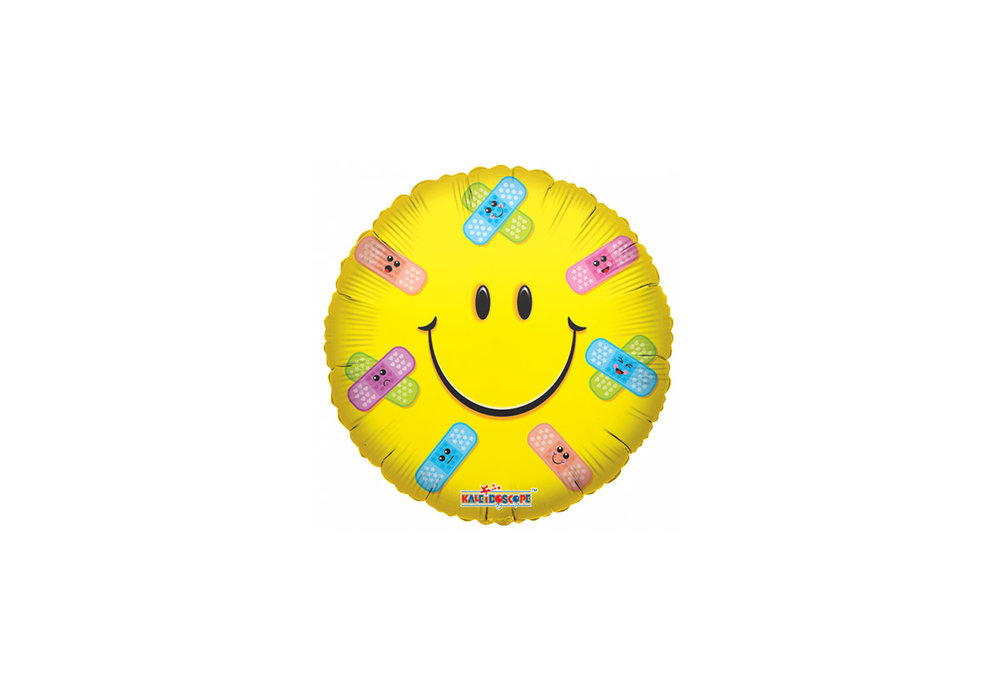 Folie ballon gele smiley met pleisters 46 cm doorsnee