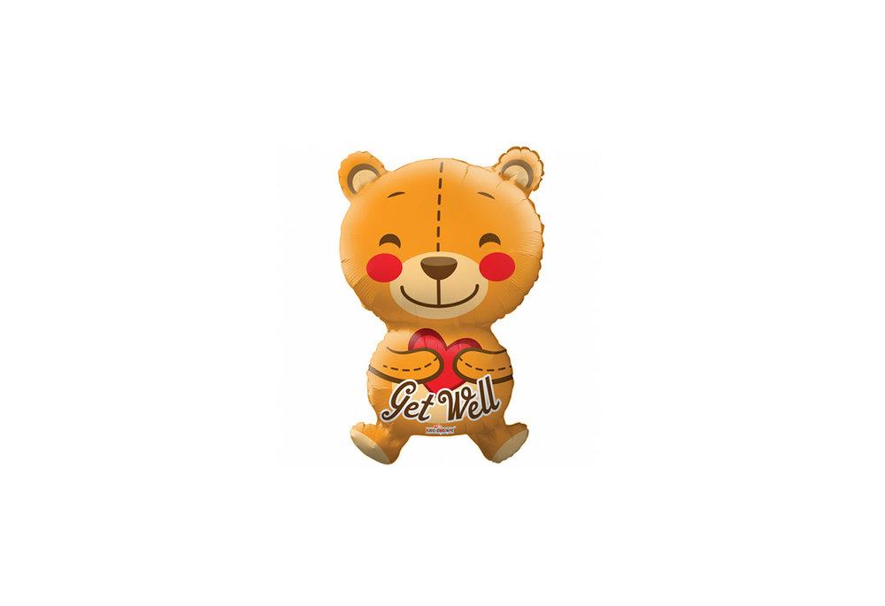 Folie ballon Get Well in de vorm van een beer 71 cm groot