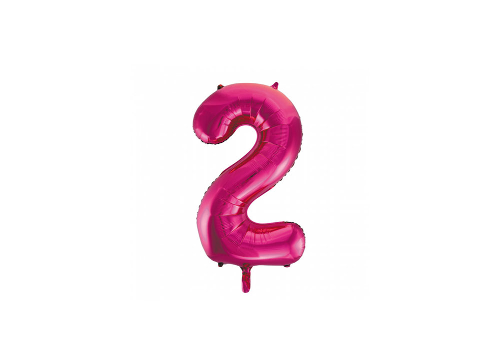 Cijferballon roze 86 cm nummer 2 professionele kwaliteit