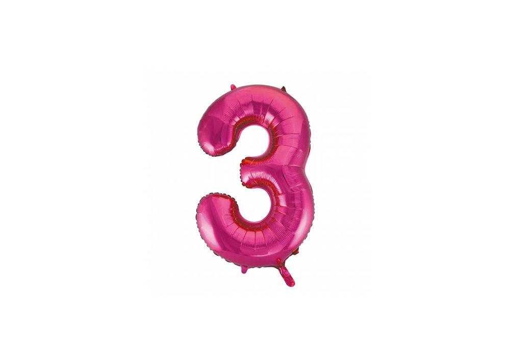 Cijferballon roze 86 cm nummer 3 professionele kwaliteit