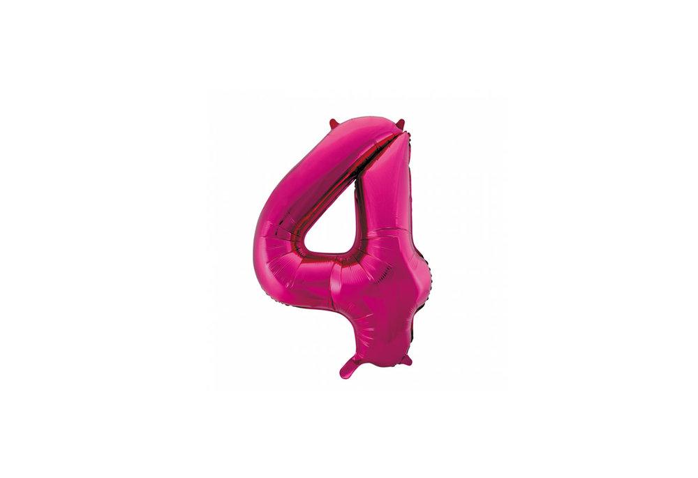 Cijferballon roze 86 cm nummer 4 professionele kwaliteit