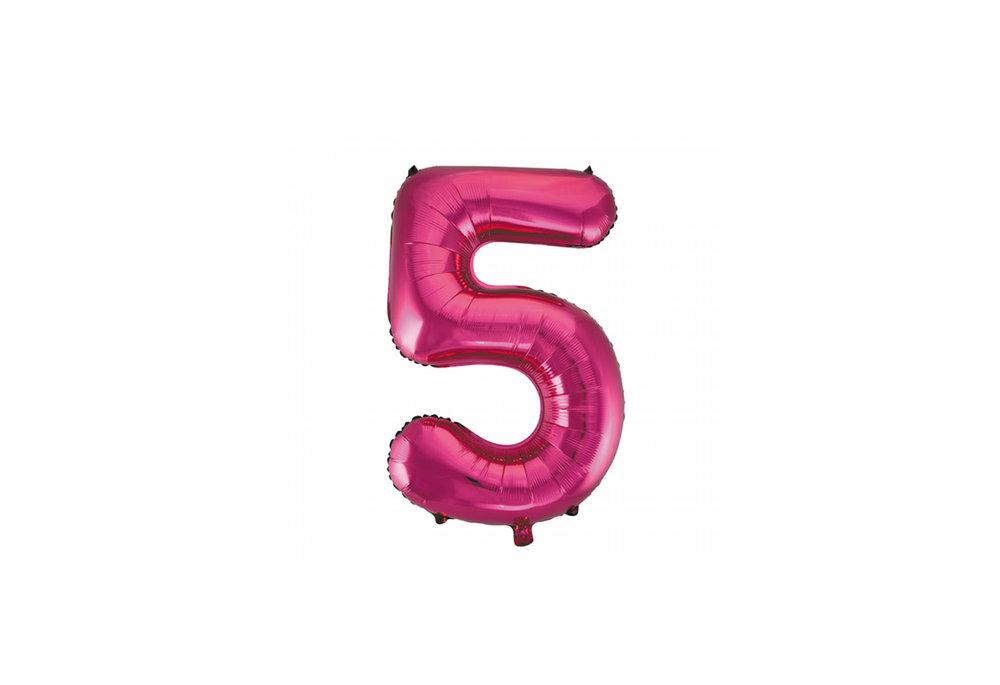 Cijferballon roze 86 cm nummer 5 professionele kwaliteit