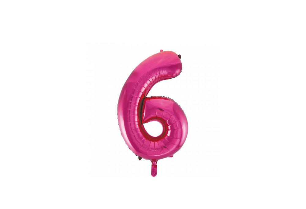 Cijferballon roze 86 cm nummer 6 professionele kwaliteit