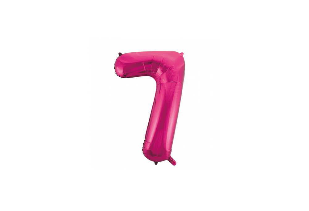 Cijferballon roze 86 cm nummer 7 professionele kwaliteit