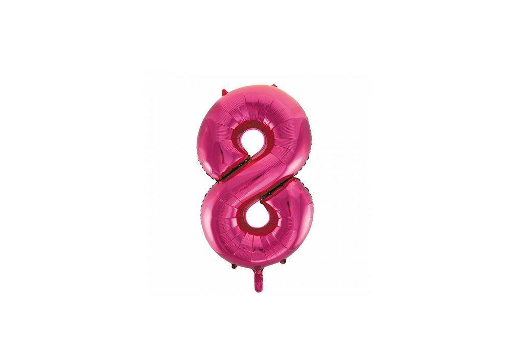 Cijferballon roze 86 cm nummer 8 professionele kwaliteit