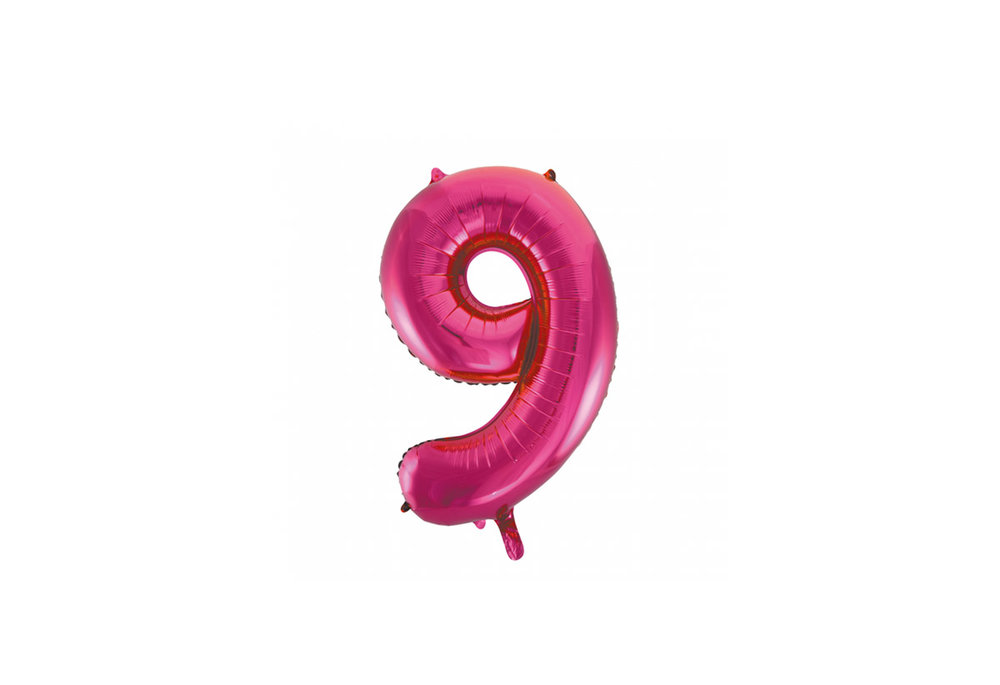 Cijferballon roze 86 cm nummer 9 professionele kwaliteit