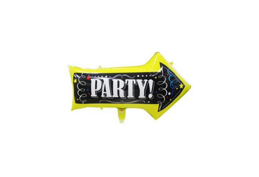 Folie ballon als pijl met tekst erop party 50*82 cm