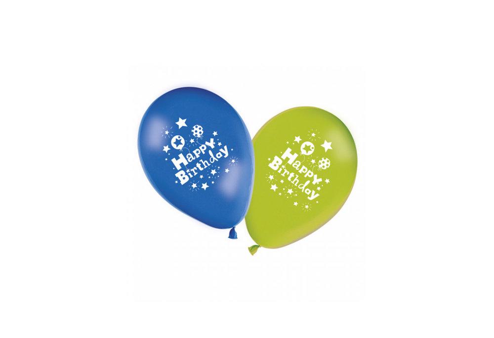 Happy birthday boy 8 stuks blauw / groen