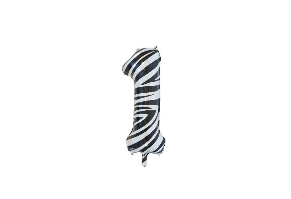 Folie ballon cijfer 1 met zebra print 86 cm