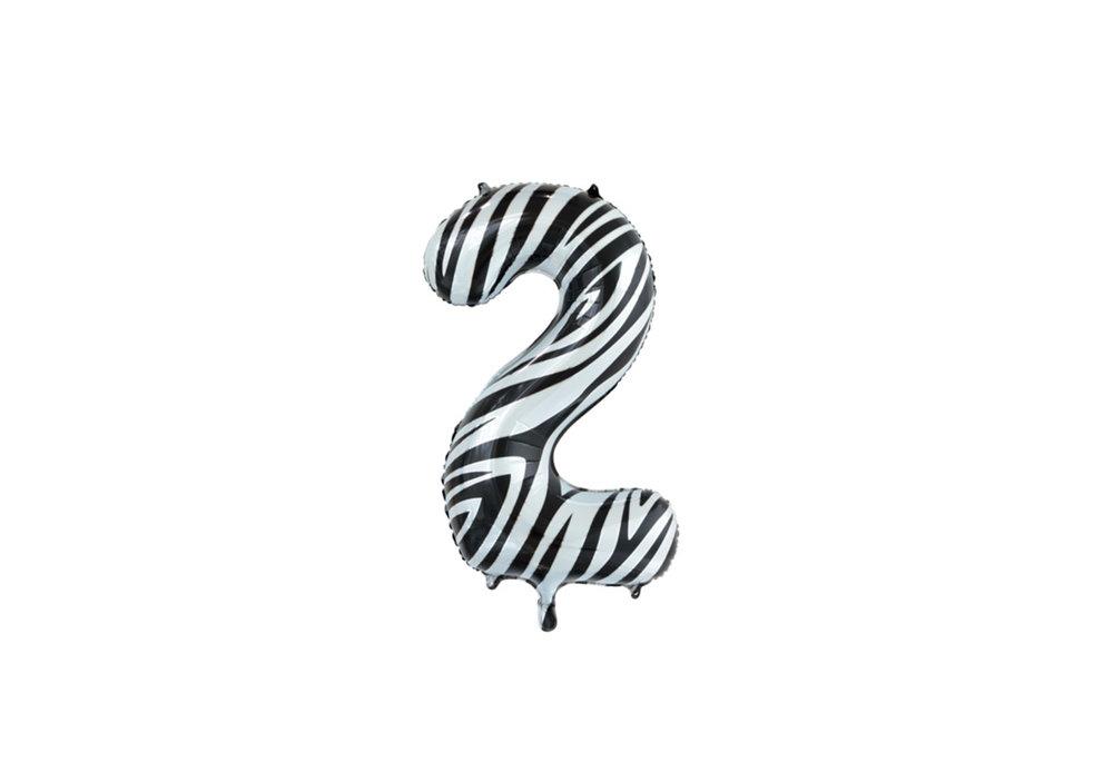 Folie ballon cijfer 2 met zebra print 86 cm