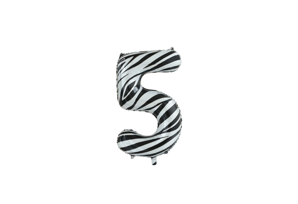 Folie ballon cijfer 5 met zebra print 86 cm