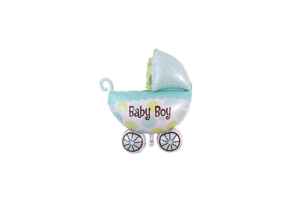 Blauwe wandelwagen baby boyvoor geboorte jongen 35 cm