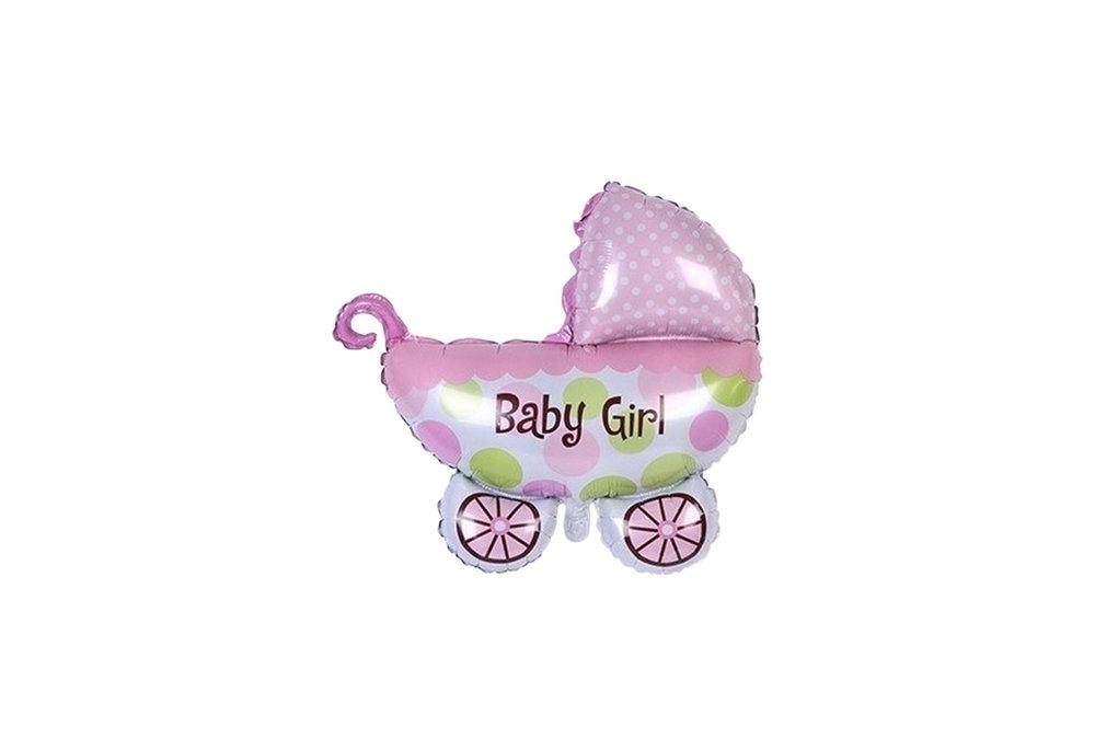 Roze wandelwagen baby girl voor geboorte meisje 35 cm