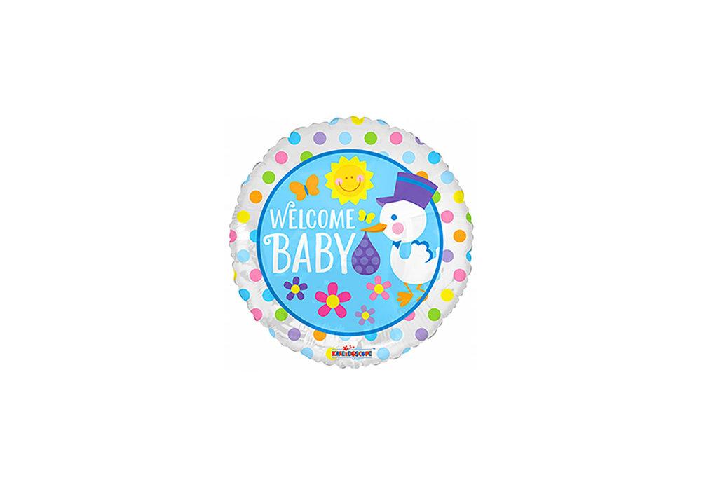 Folie ballon Welcome baby rond met gekleurde stippen 46 cm groot