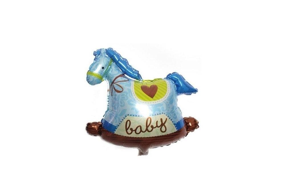 Grote XL blauwe hobbelpaard ballon baby voor geboorte jongen 95 cm