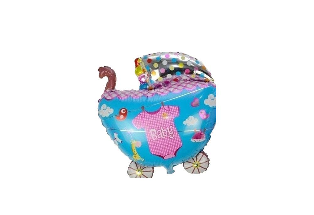 Grote XL blauwe kinderwagen ballon babyshower voor geboorte jongen 68 cm