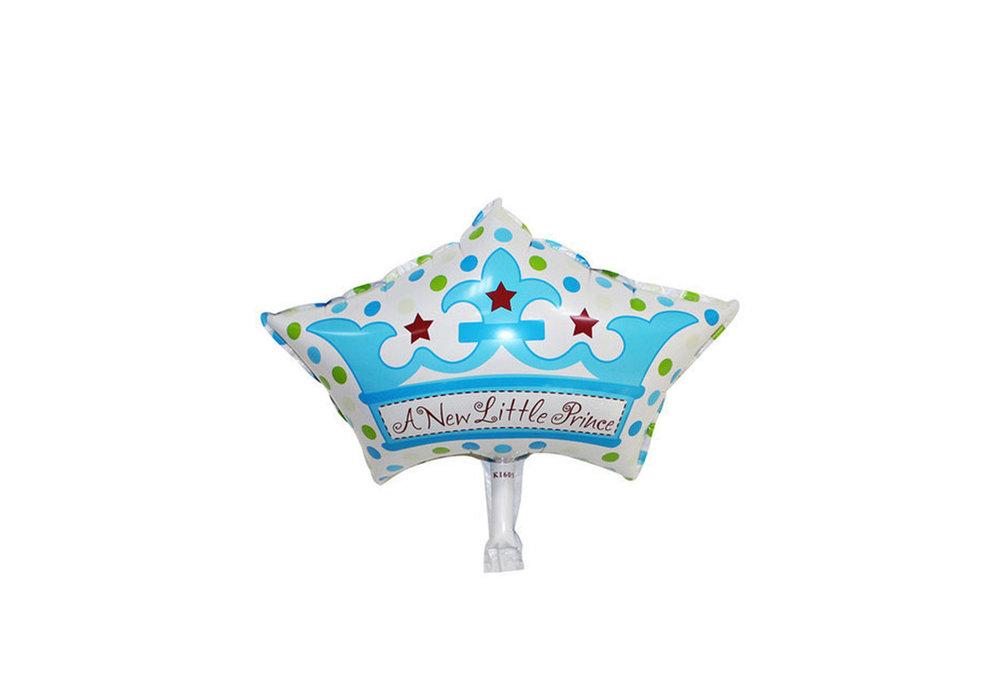 Grote XL blauwe kroon ballon new little prince voor geboorte jongen 57 cm