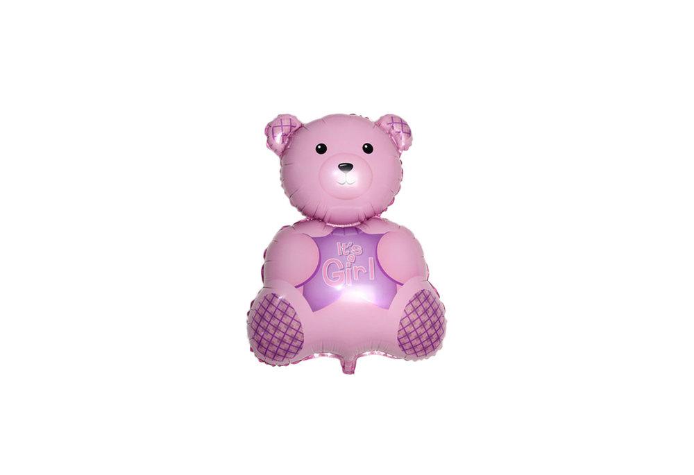 Roze beer its a girl voor geboorte meisje 38 cm